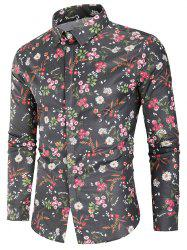 Floral Print Covered Button Shirt -