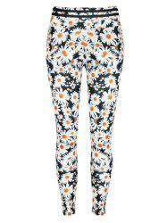 Daisy Print High Waist Leggings -