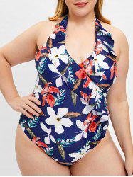 Halter Neck Floral Print Plus Size Swimwear -