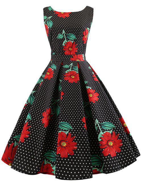 Outfit Floral Polka Dot Midi A Line Dress