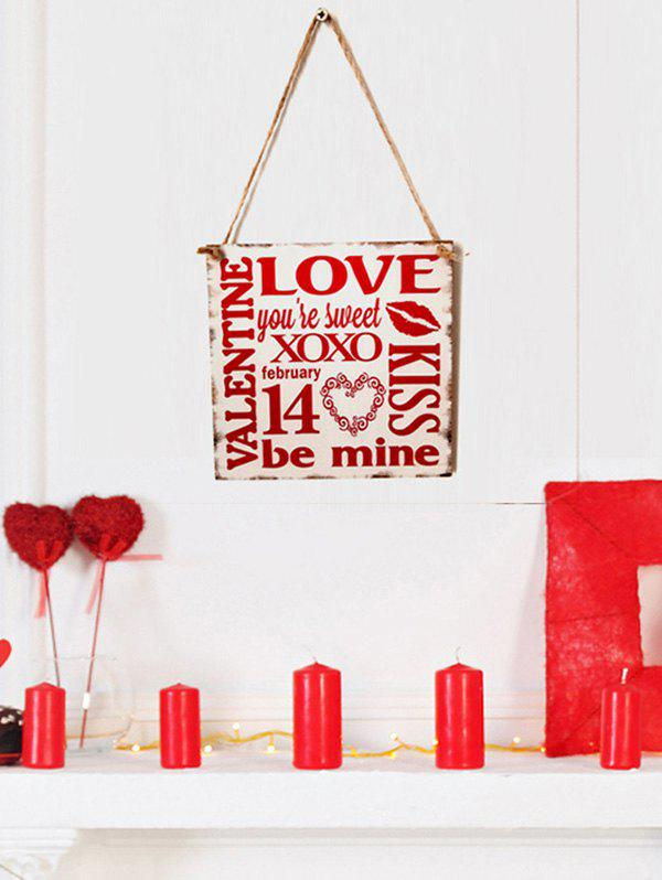 Outfit Valentine's Day Letter Pattern Wooden Hanging Sign