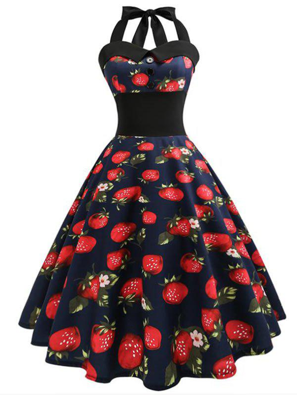 Store Halter Strawberry Print A Line Dress
