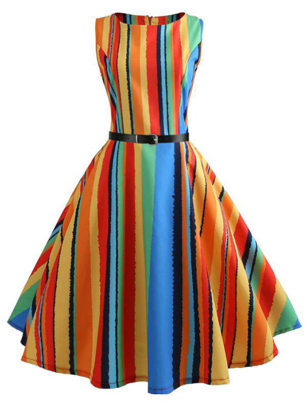 Outfits Colorful Striped Sleeveless A Line Dress