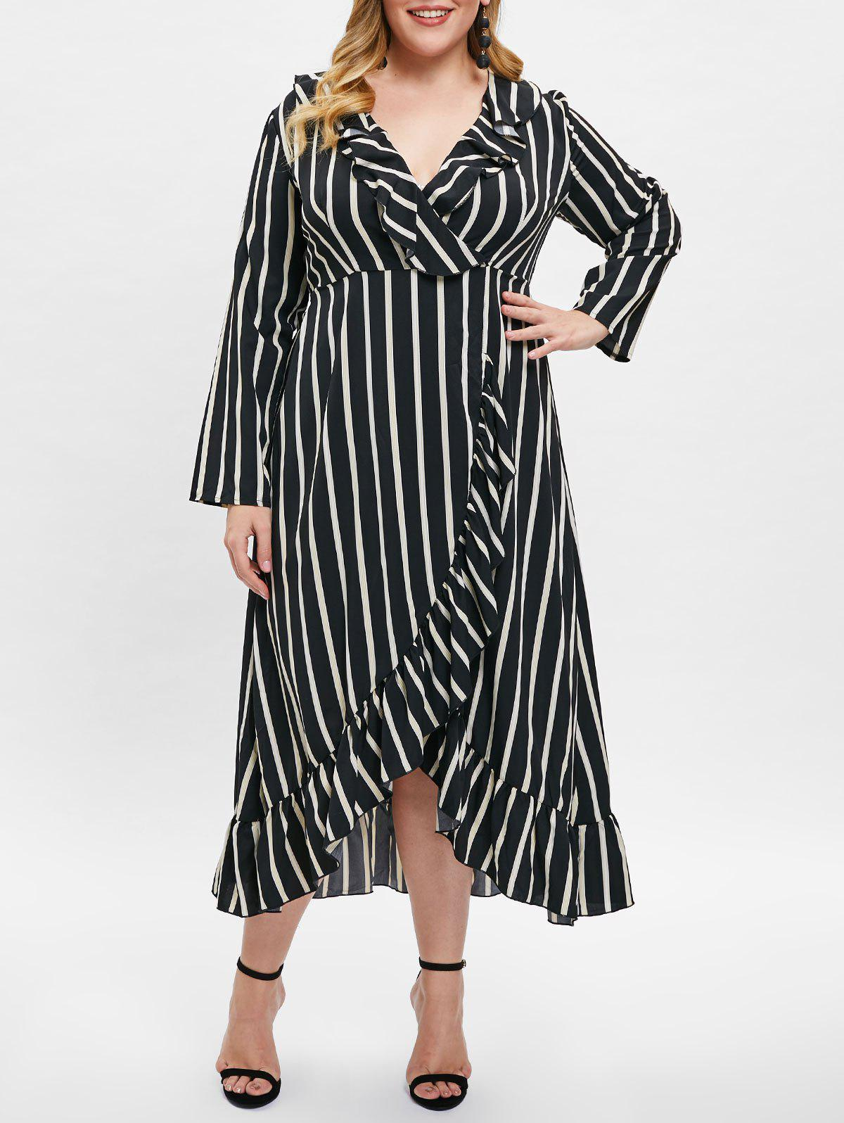 Plunge Plus Size Asymmetrical Striped Dress
