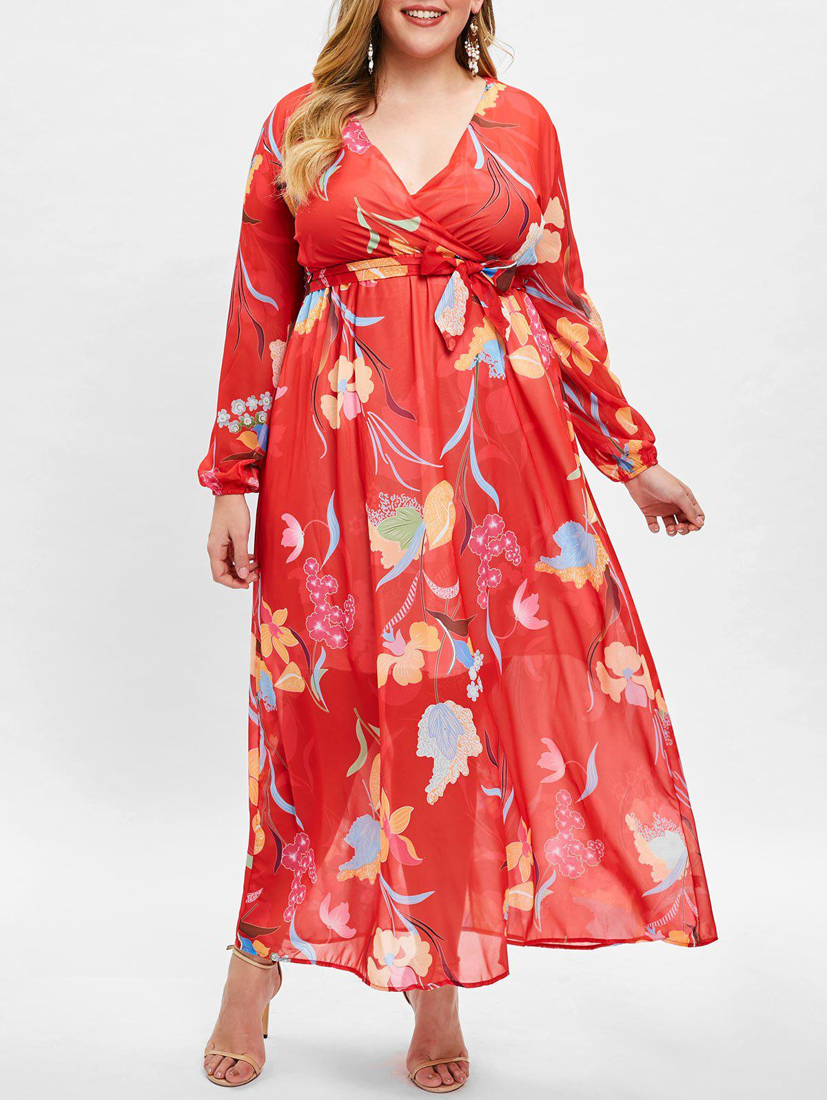 Hot Plus Size Floral Print High Waist Wrap Dress