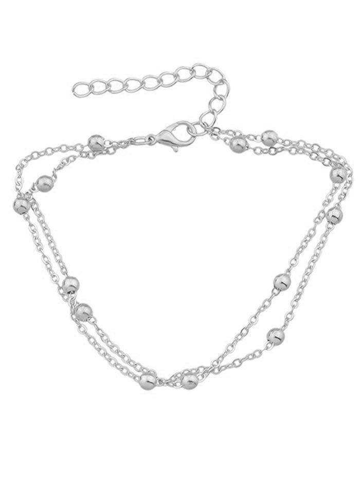 Trendy Double Layered Small Metal Beads Anklet