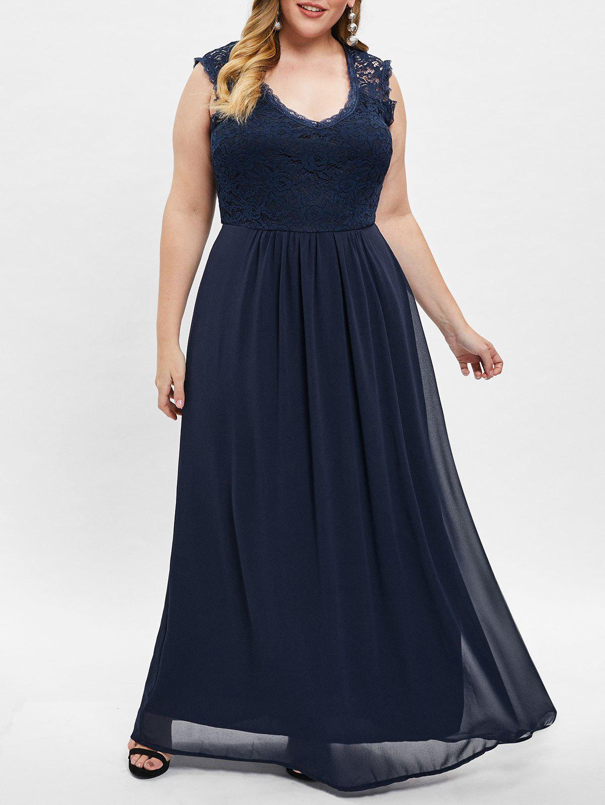 f3a2826ffc07 45% OFF] Sleeveless Plus Size Lace Panel Maxi Dress | Rosegal