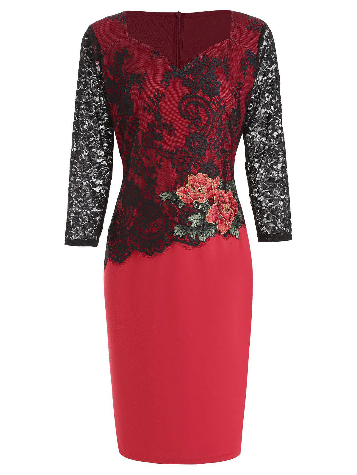 Outfit Lace Panel Flower Embroidered Bodycon Dress