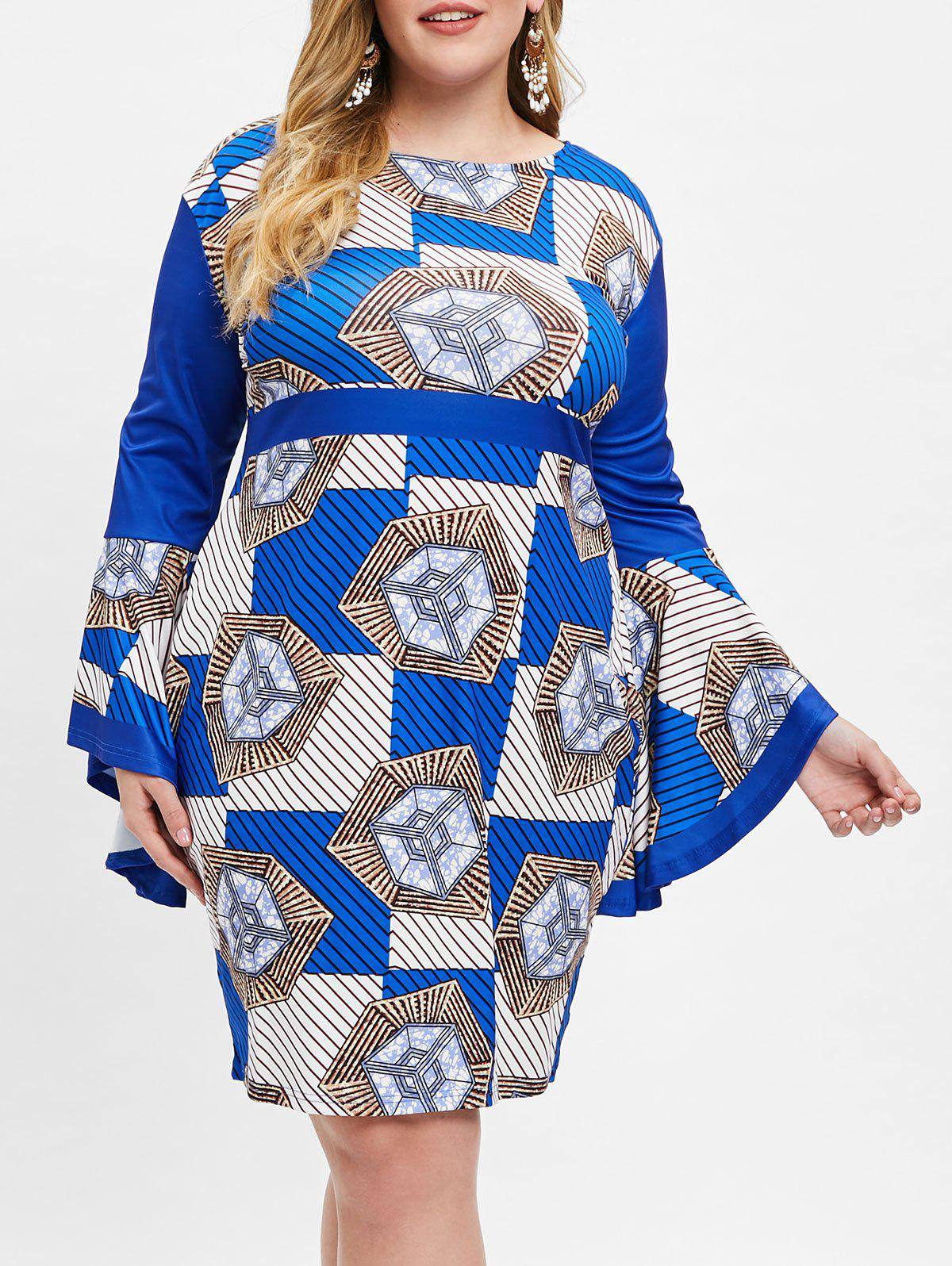 Unique Geometric Print Plus Size Bodycon Dress