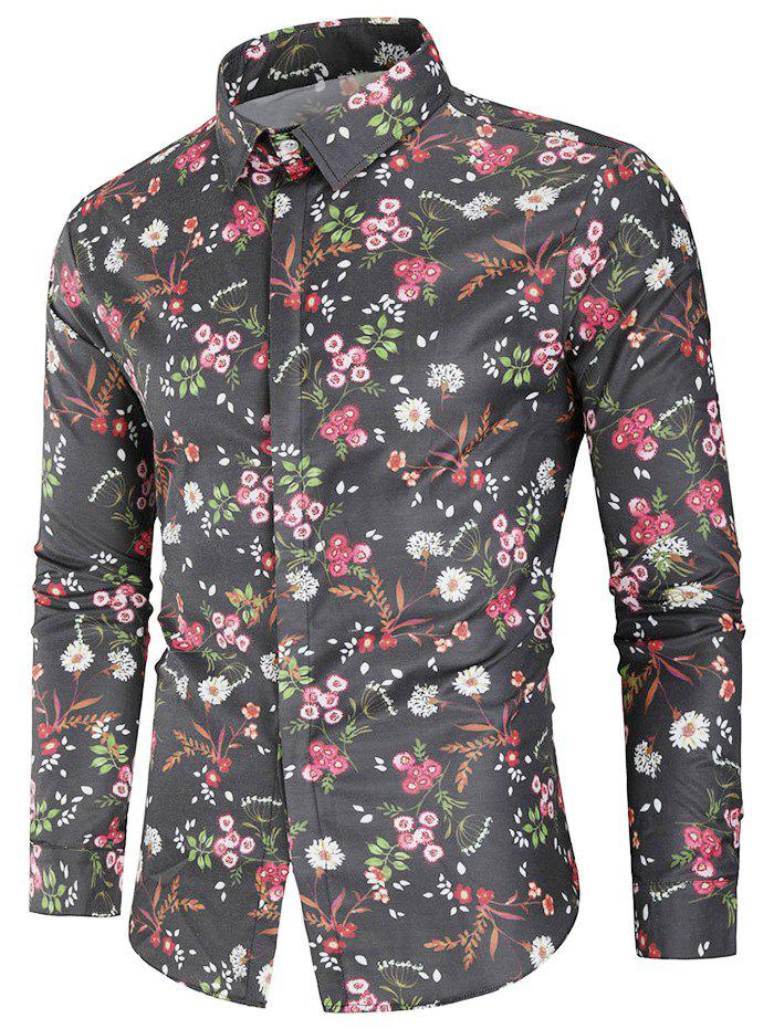 Trendy Floral Print Covered Button Shirt