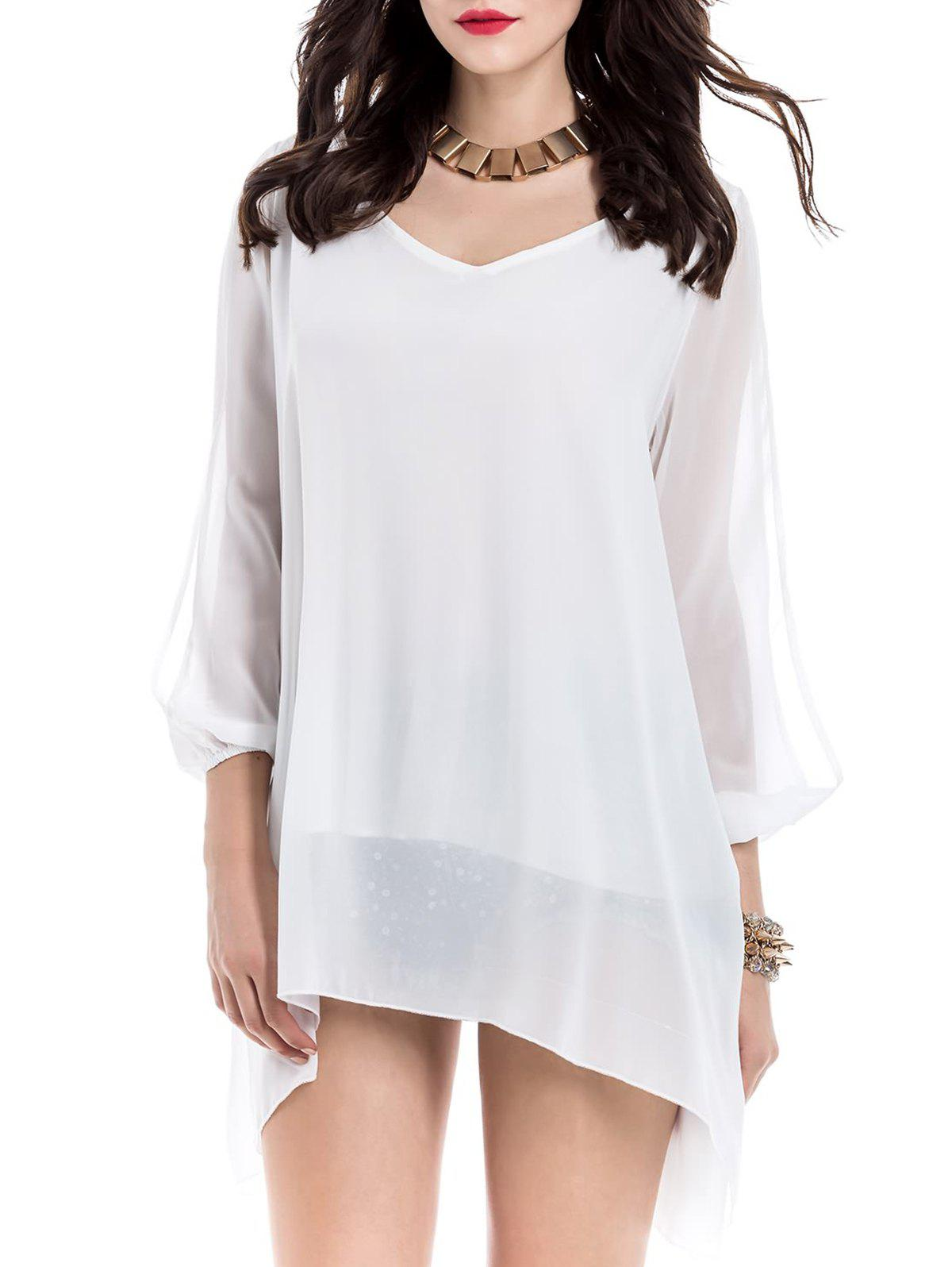Sale Long Sleeve Chiffon Beach Shift Dress