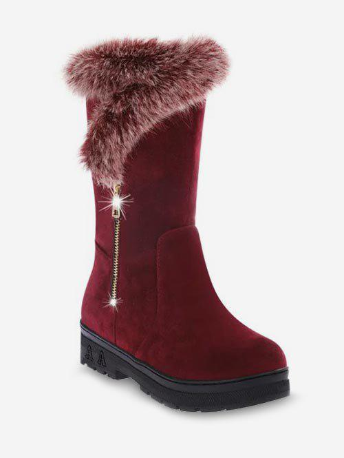 New Faux Fur Trim Mid Calf Boots