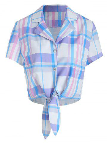 Button Up Knotted Plaid Blouse