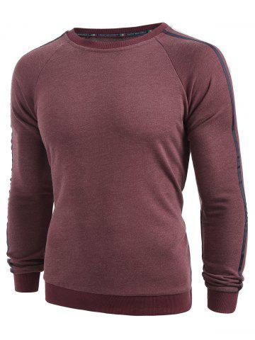 Side Ribbon Patchwork Casual Sweatshirt - RED WINE - L
