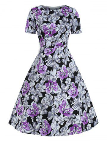 Floral Print Short Sleeves Retro Dress