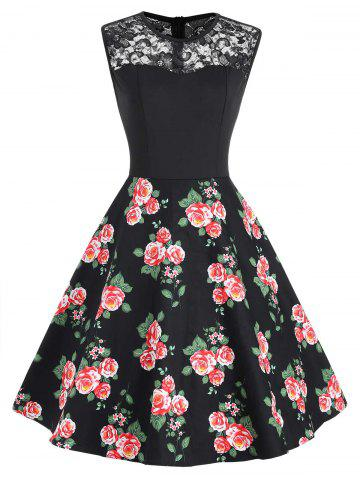 Lace Panel Floral Print Sleeveless Dress
