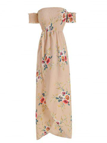 Off The Shoulder Floral Print Overlap Dress