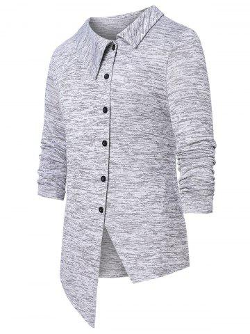 Asymmetric Space Dye Button Up Cardigan - GRAY - L