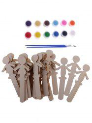 32 Pcs DIY Painting Wooden Boys and Girls Figures -