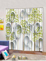 2PCS Tree Leaf Pattern Window Curtains -