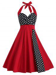 Vintage Halter Polka Dot Print Dress -