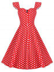 Vintage Knee Length Polka Dot Print Dress -