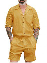 Solid Color Drawsting Short Rompers -
