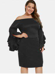 Ruffle Hem Sleeve Plus Size Bodycon Dress -
