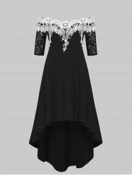 Lace Panel Plus Size High Low Dress -