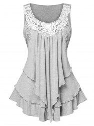 Lace Panel Plus Size Layered Tank Top -
