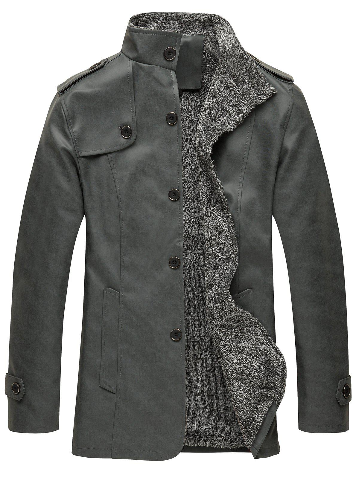 Online Epaulet Design Single Breasted Stand Collar Coat