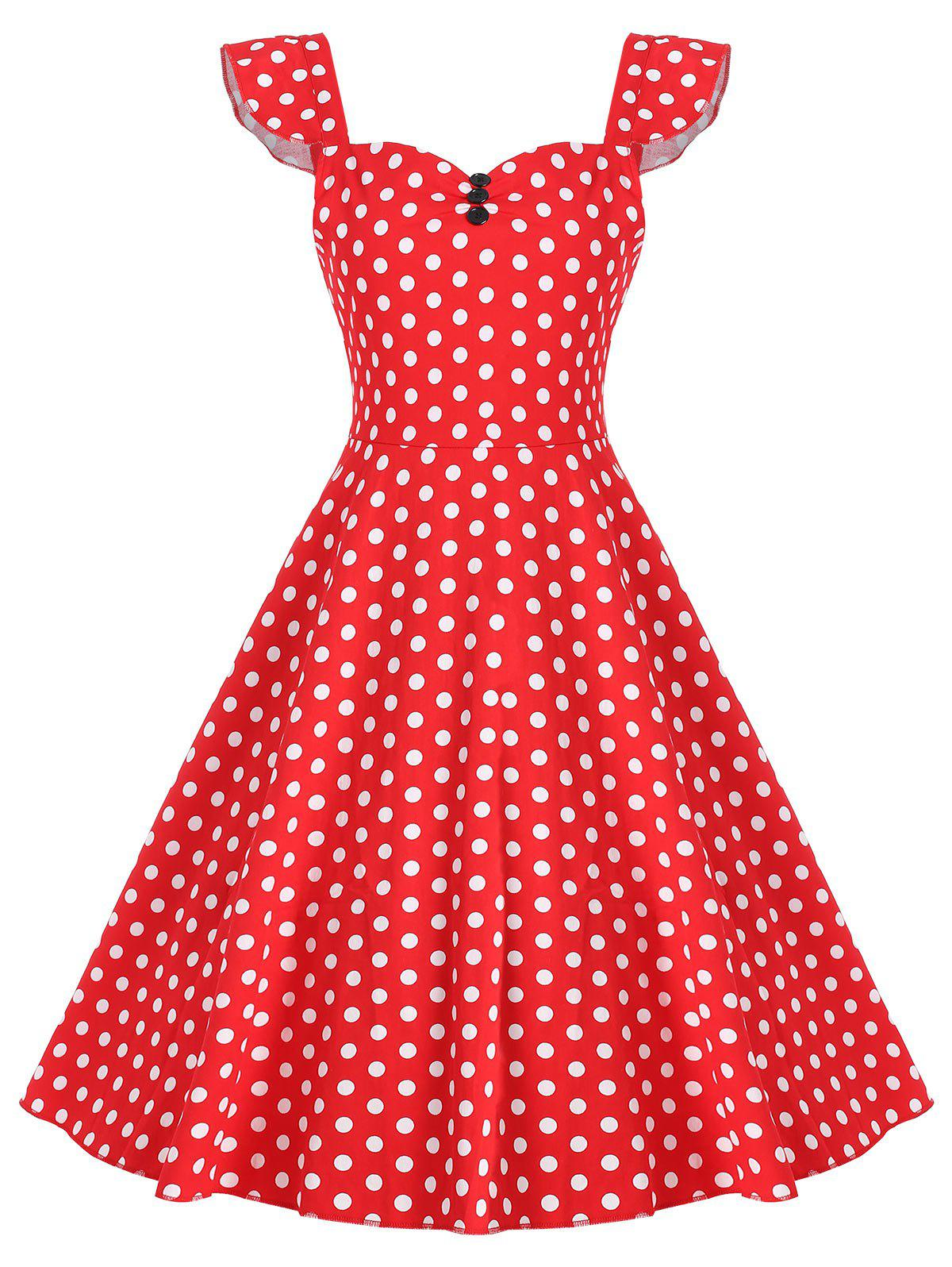 Fashion Vintage Knee Length Polka Dot Print Dress