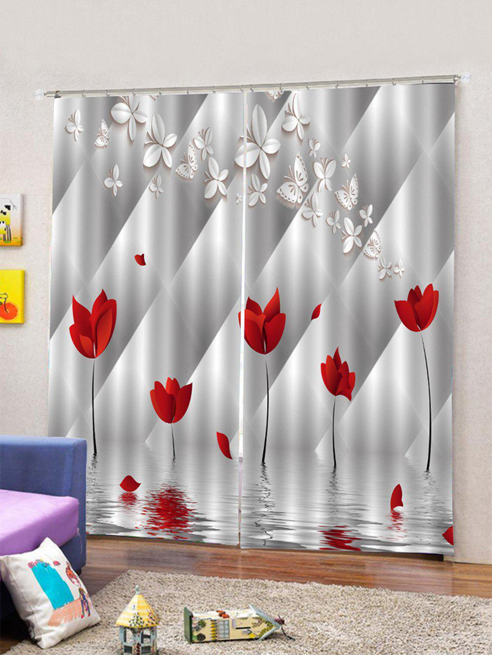 Affordable 2PCS Butterfly Flower Pattern Window Curtains