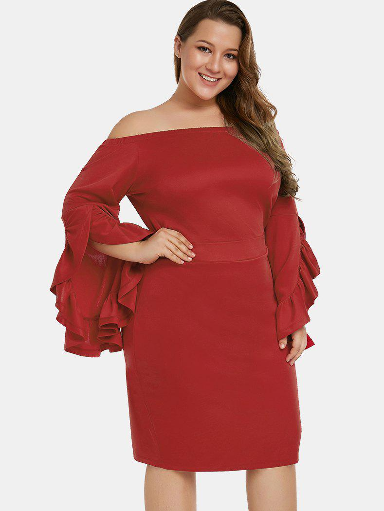 Sale Ruffle Hem Sleeve Plus Size Bodycon Dress