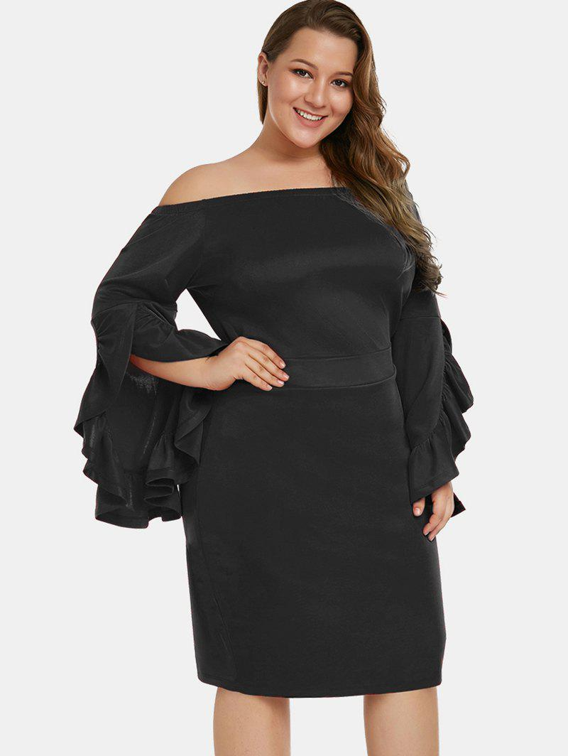 Shops Ruffle Hem Sleeve Plus Size Bodycon Dress