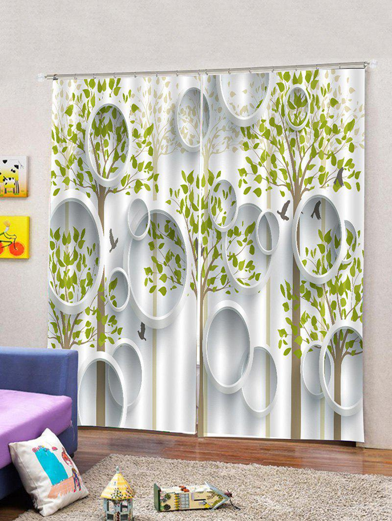 Discount 2PCS Tree Leaf Pattern Window Curtains