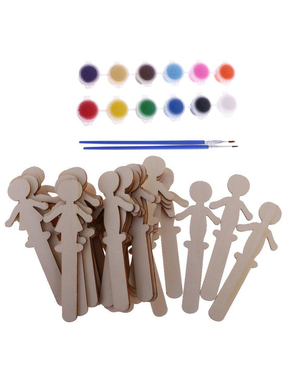 Fancy 32 Pcs DIY Painting Wooden Boys and Girls Figures