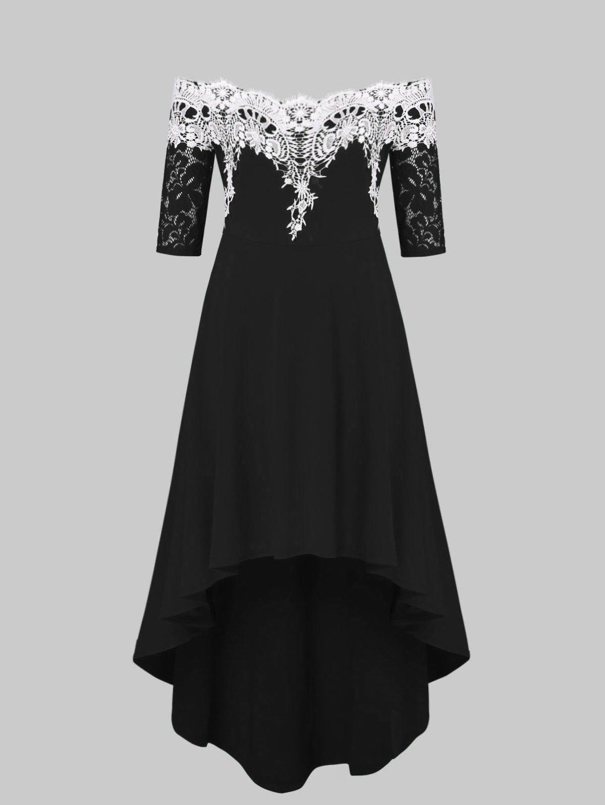 Lace Panel Plus Size High Low Dress
