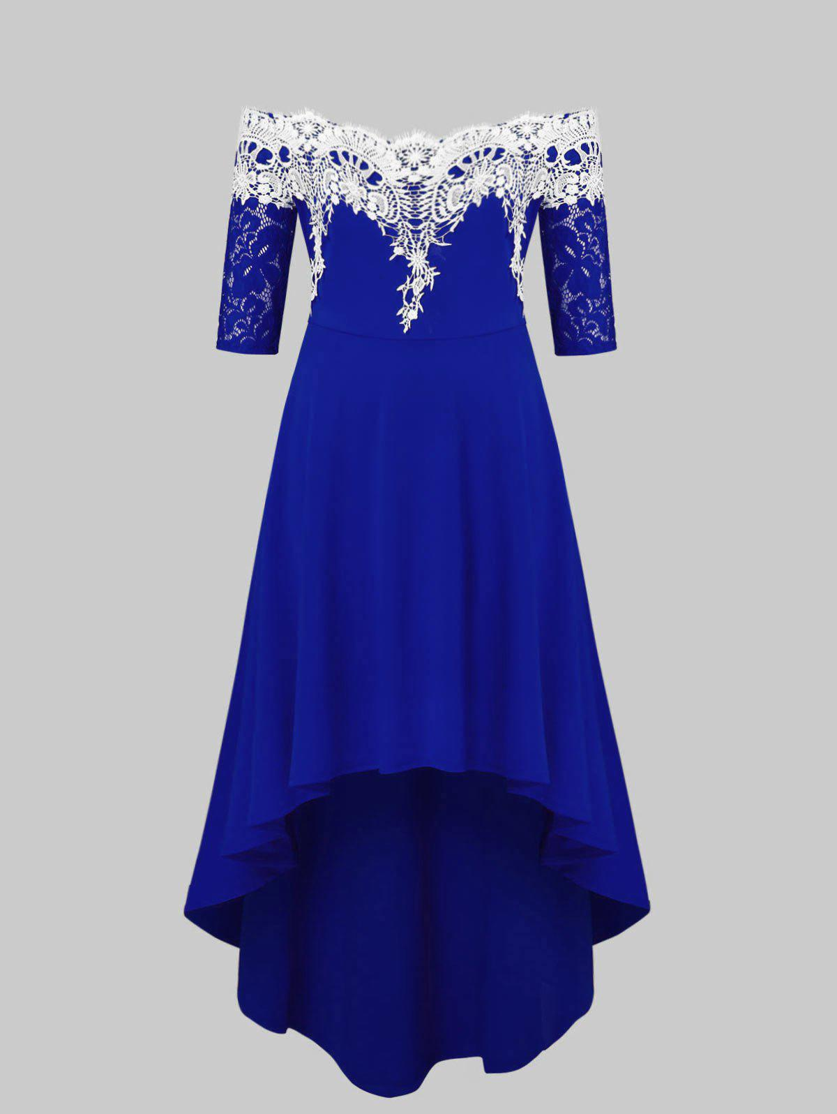 Outfit Lace Panel Plus Size High Low Dress