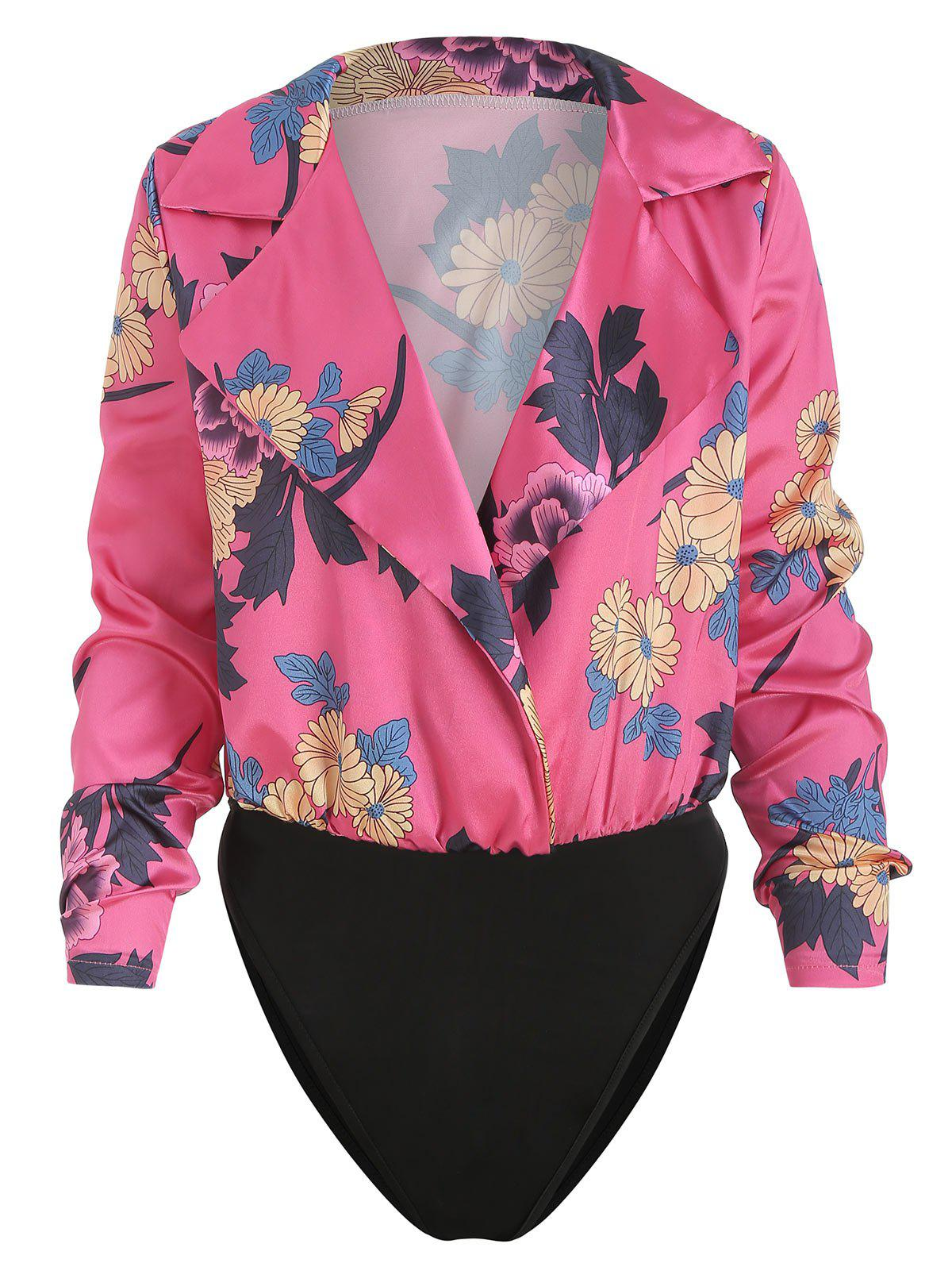 Unique Lapel Collar Wrap Floral Print Bodysuit