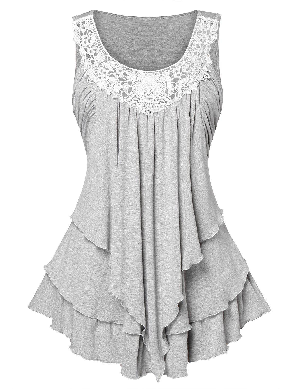 Hot Lace Panel Plus Size Layered Tank Top