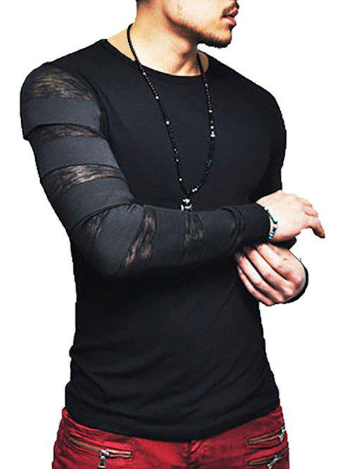 Affordable Transparent Elstic Band Sleeves Slim Fit Shirt