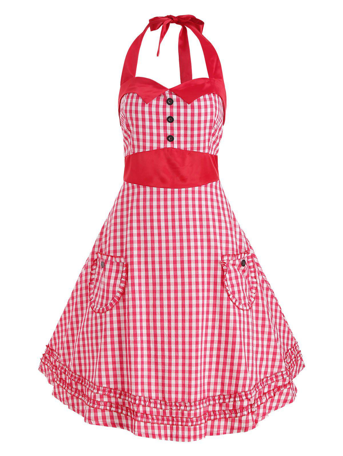 Sale Halter Ruffle Plaid Print Vintage Dress