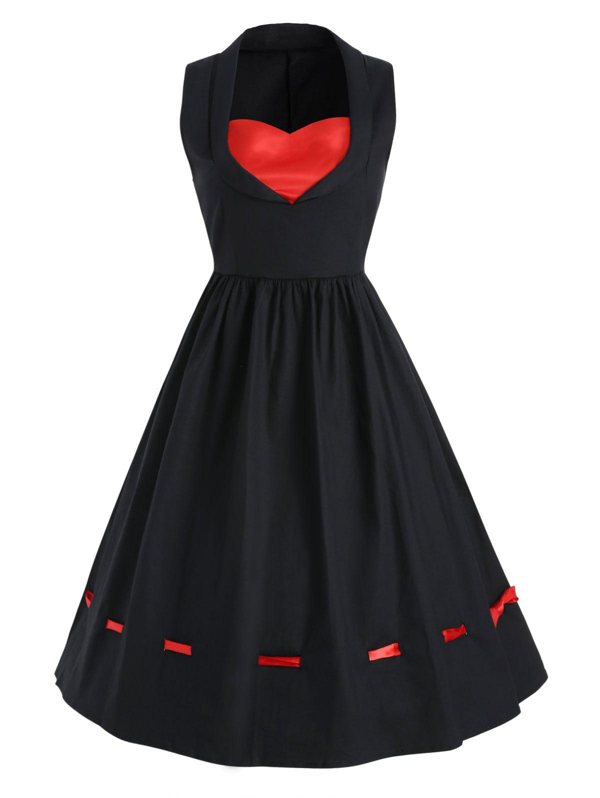 Outfits Vintage Sleeveless Contrast Dress