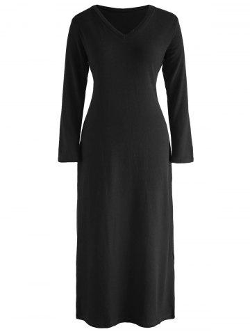V Neck Long Knitwear Dress