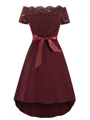 Off The Shoulder Lace Insert Belted Vintage Dress