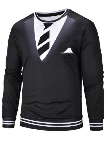 3D Tie Suit Print Long Sleeve Sweatshirt