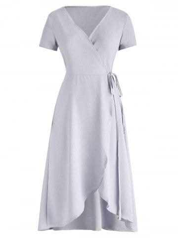 V Neck High Low Wrap Dress