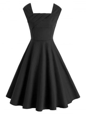 Square Neck Ruched Flare Dress