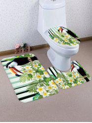 Flower Bird 3 Pcs Bathroom Toilet Mat -
